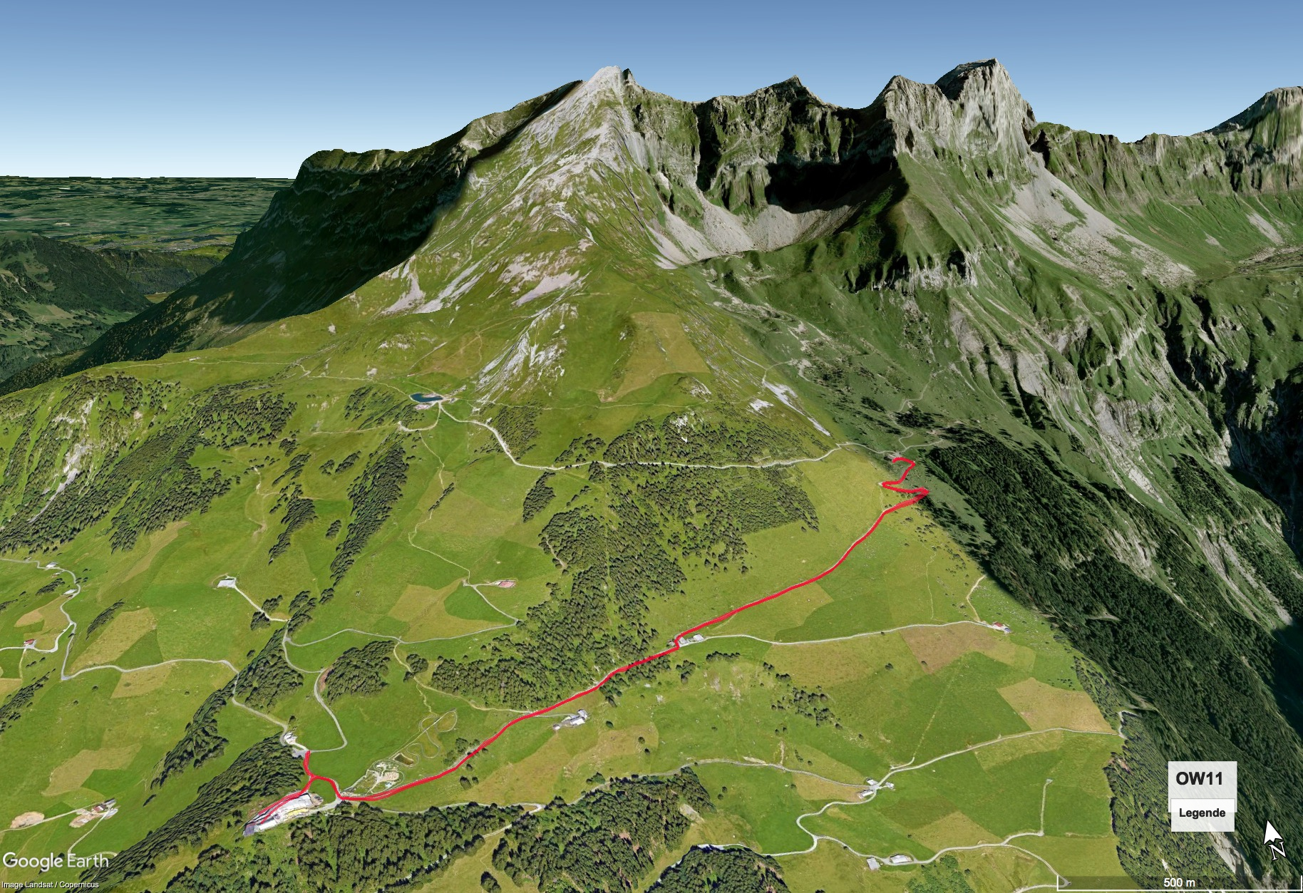 Google Earth Karte mit Wegstrecke